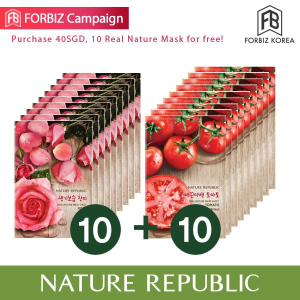 Latest Nature Republic Real Nature Mask Sheet X 20 Rose 10Ea Tomato 10Ea
