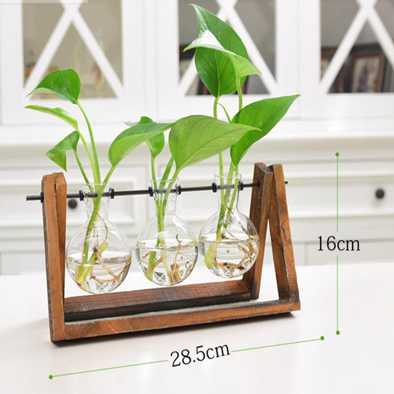 Qimiao Creative Plant Glass Hydroponic Container Terrarium Desk Decor with Wood Stand Flower Pot Home Decoration