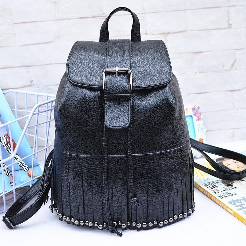Elizabeth Ladies Shoulder Bag 2017 Autumn New Tassel Backpack Fashion  Handbags PU Leather Backpack - intl 45ca1abb40
