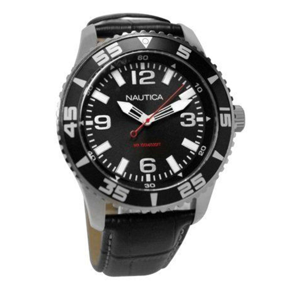How Do I Get Nautica Nautica Nst 07 Black Stainless Steel Case Leather Strap Mens N09611G