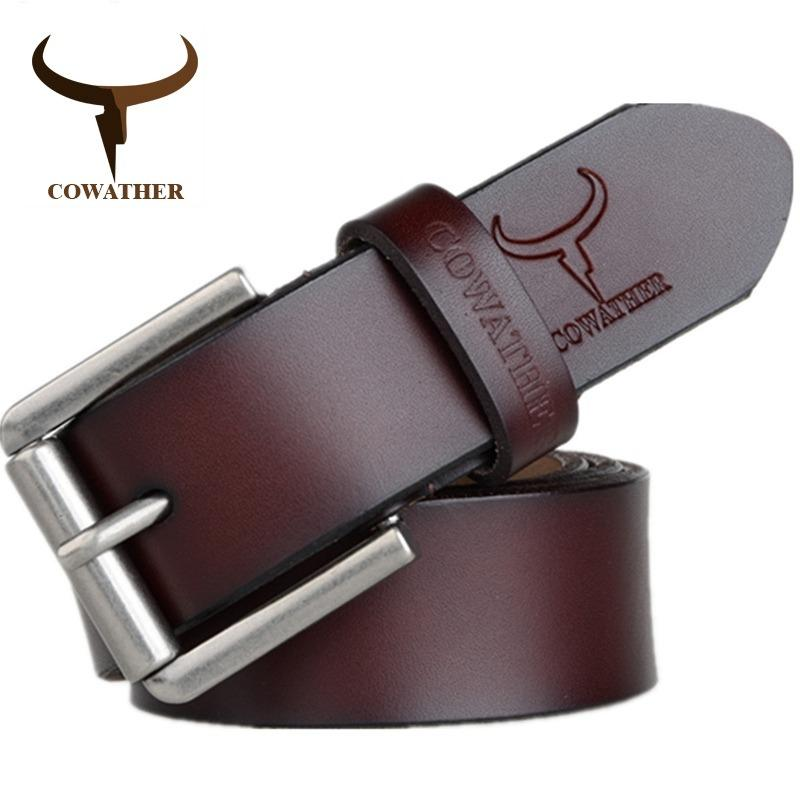 Buy Cowather Men 100 Top Cow Leather Dress Belt With Pin Buckle Strap Waist Belt Size For 28 44 Inches Cowather Cheap