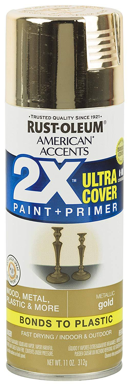 Rust-Oleum Ultra Cover 2x Spray Paint Metallic Gold 327909 By Selffix Diy.
