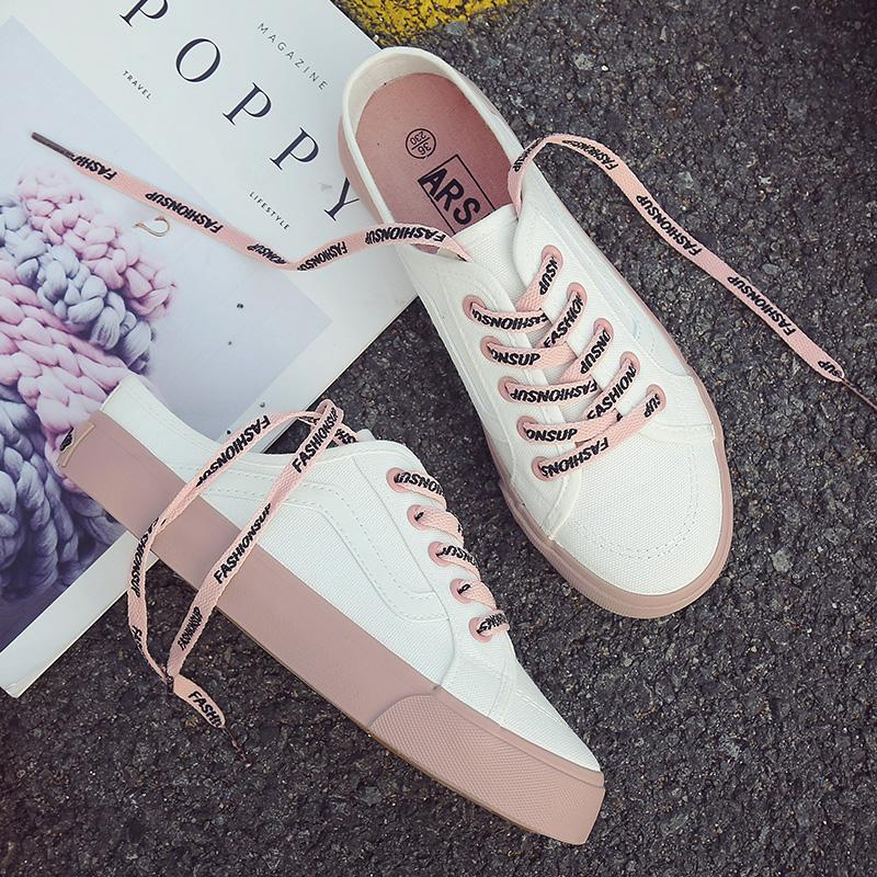 2018 Summer New Style Canvas Shoes Women s Shoes White Shoes Korean Style  Students Versatile Backless And a781ebae7189