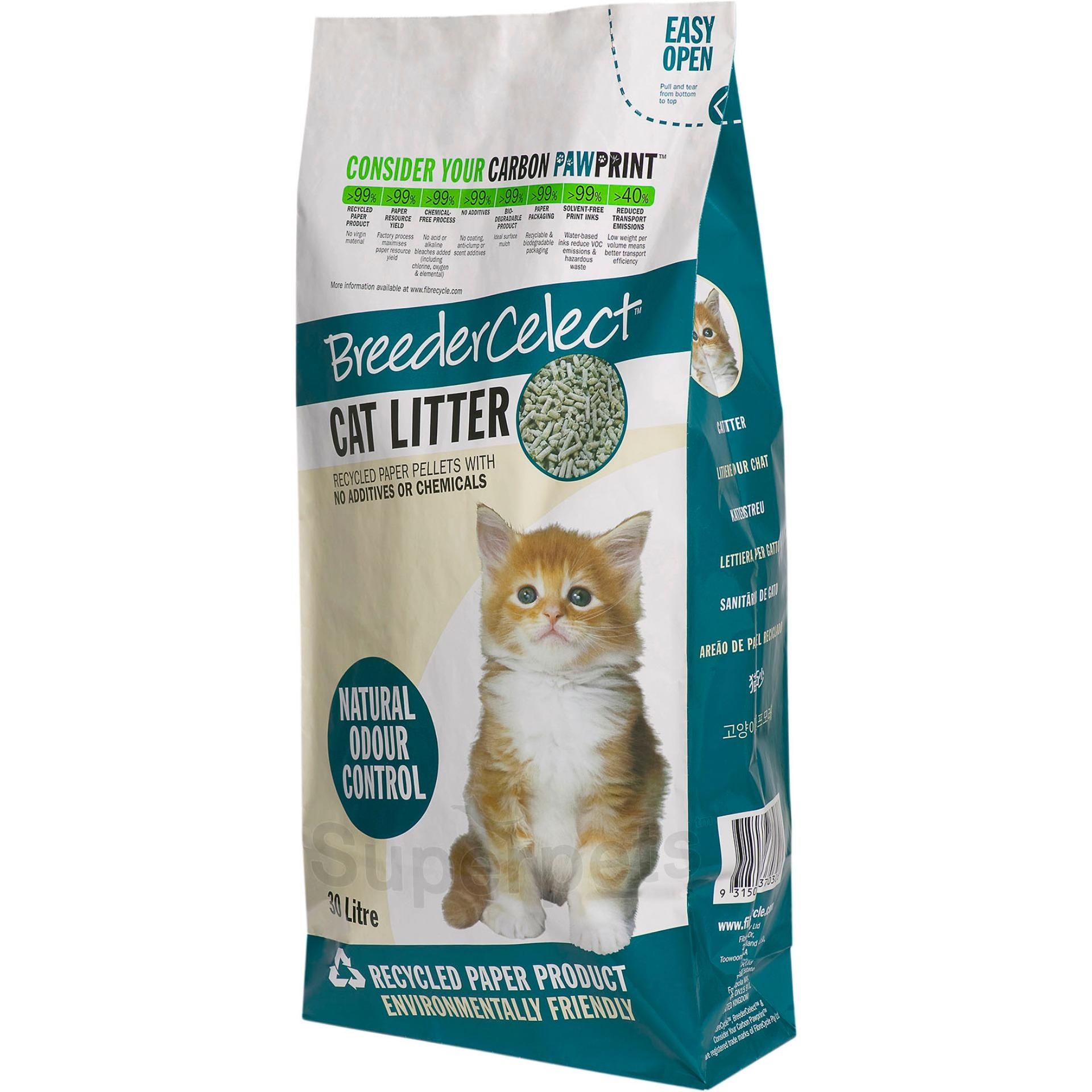 Price Breeder Celect Cat Litter Recycled Paper Pellets 30L Breeder Celect New