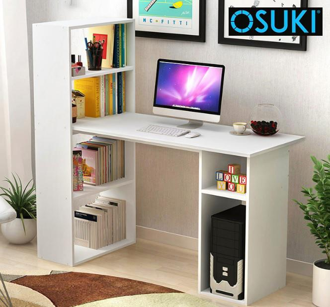OSUKI Home Office Table With Attached Bookshelf (White)