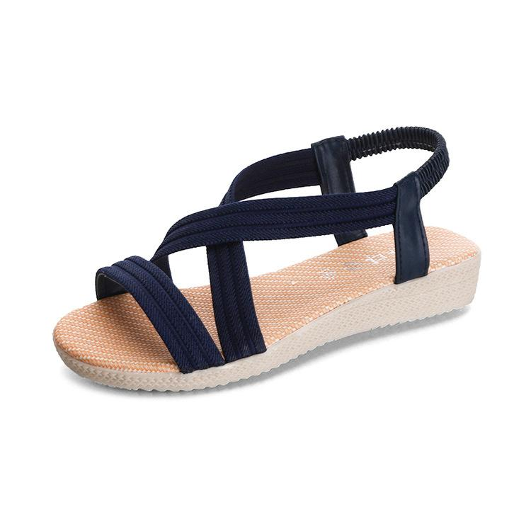 90e1e10a333963 Summer new 2018 simple flat simple sandal solid color elastic belt foreign  trade 41 large size