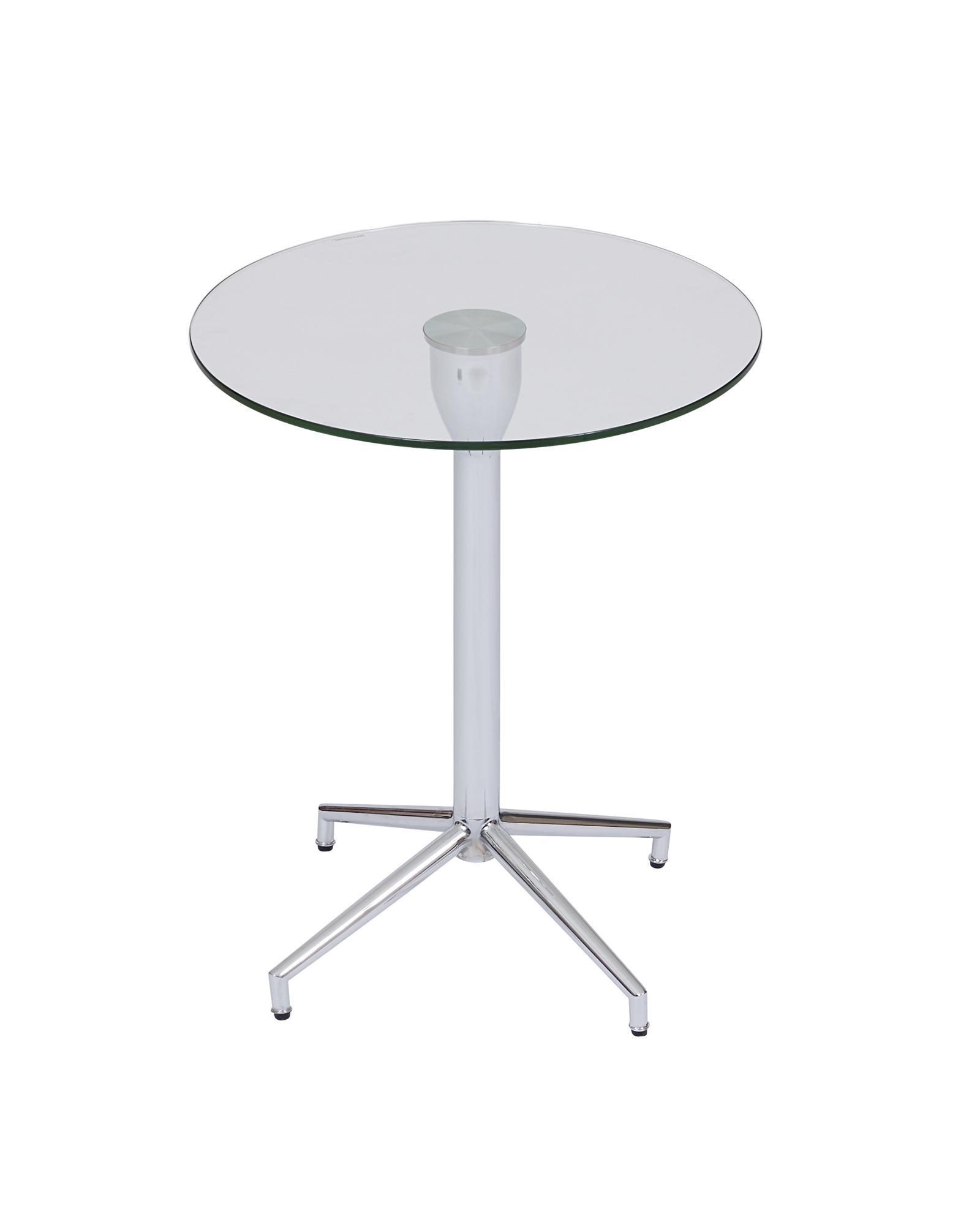 Salduba Chrome Tempered Glass Side Table