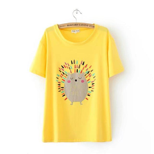 4XL Plus size Cotton short Sleeve women t shirt 2018 O Neck t-shirt Hedgehog 620df478dd2d