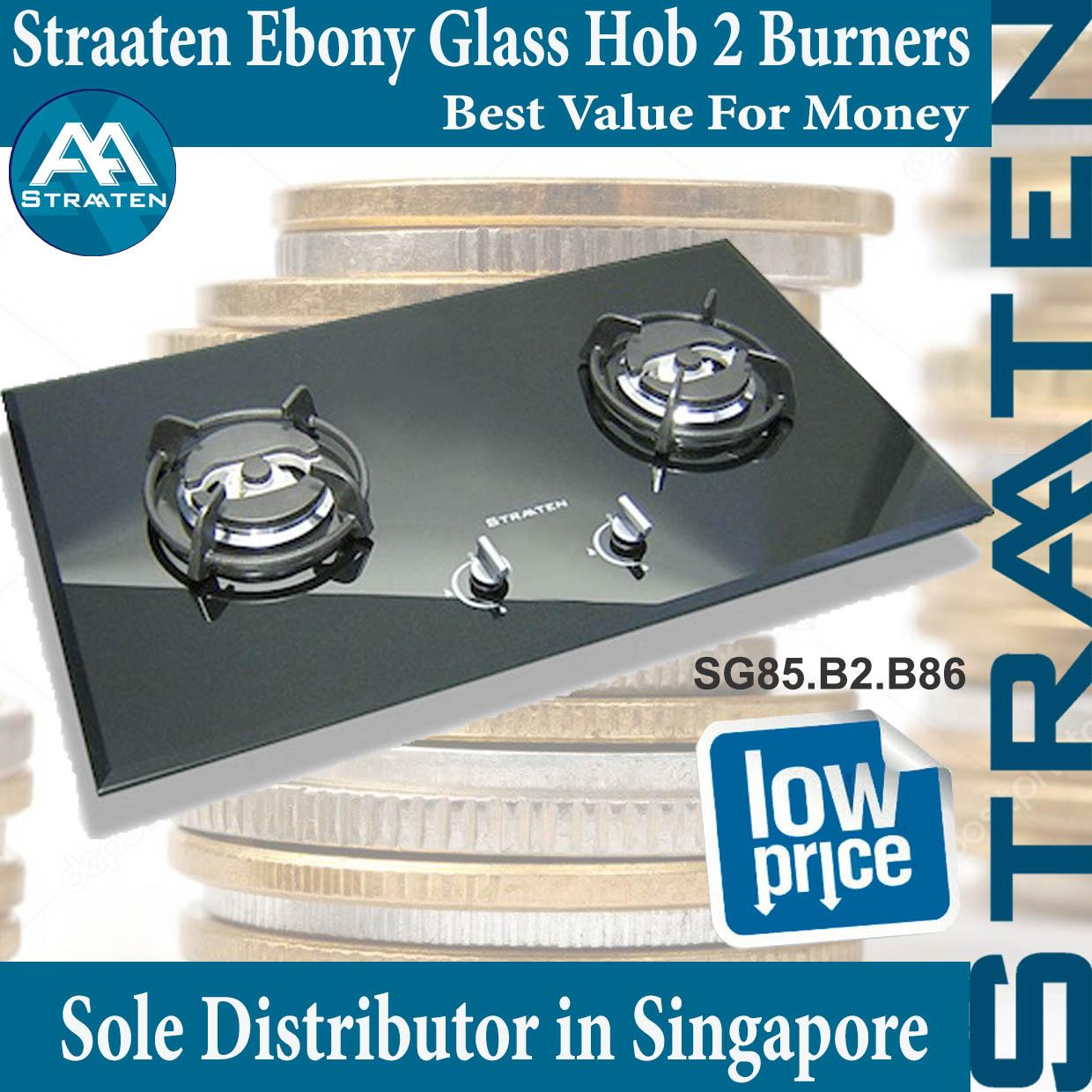 Purchase Straaten Sg85 B2 B86 Ebony Glass Hob 2 Ultra Rapid Burners With Safety Device 1 Year Warranty
