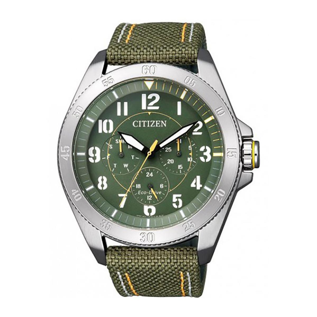 Compare Citizen Citizen Eco Drive Military Green Stainless Steel Case Nylon Strap Mens Bu2030 09W