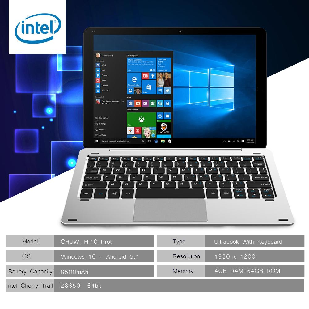 Buy Chuwi Hi10 Pro Cwi529 2 In 1 Ultrabook Tablet Pc With Keyboard 10 1 Inch Windows 10 Android 5 1 Ips Screen Intel Cherry Trail Z8350 64Bit Quad Core 1 44Ghz 4Gb Ram 64Gb Rom Dual Cameras Stylus Function Chuwi Cheap