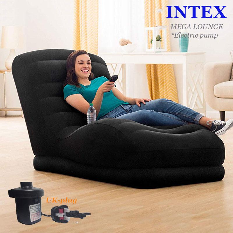 INTEX MEGA LOUNGE CHAIR*New Style-Flocked top*AIR SOFA*INFLATABLE SINGLE SOFA*W/Electric pump(UK plug)*3in1 pillowset FREE