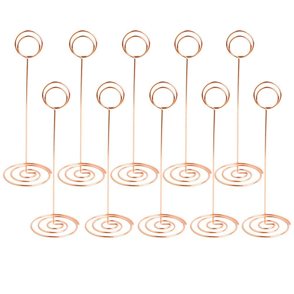 niceEshop Place Card Holder 10 Pack, 8.75 Inch Table Number Card Holders Photo Holder Stands Place Paper Menu Clips for Wedding Party, Gold Circle Shape