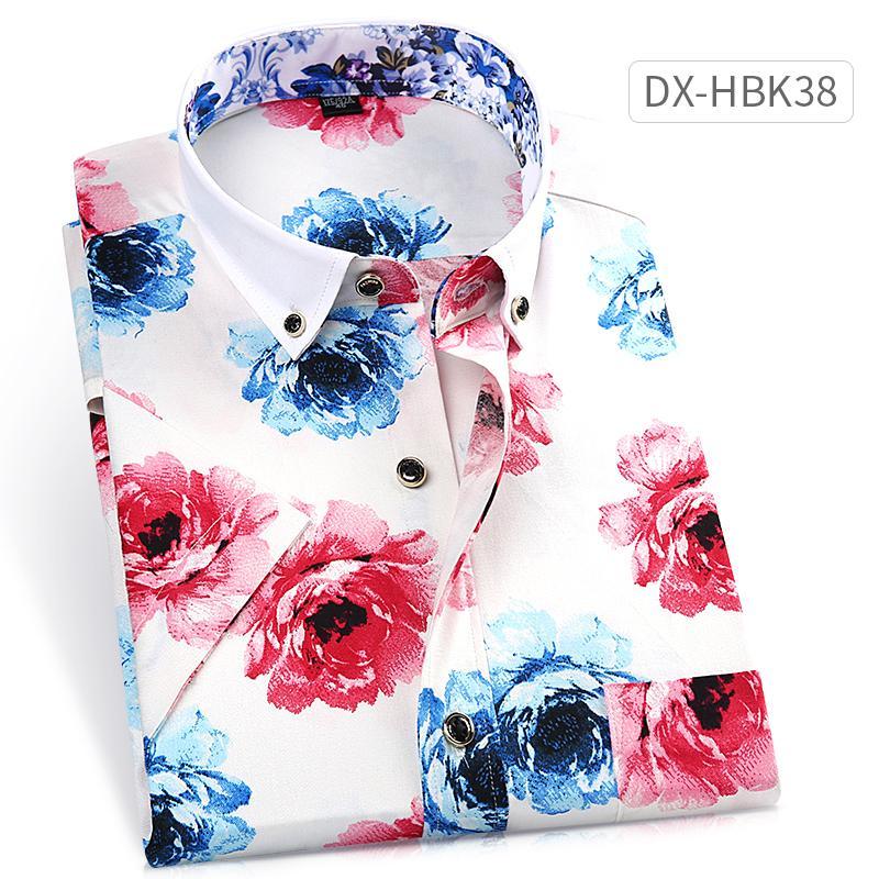 เสื้อเชิ้ต ผู้ชาย พิมพ์ลาย ไม่ต้องรีด สไตล์เกาหลี (dx-Hbk18) (dx-Hbk18) By Taobao Collection.