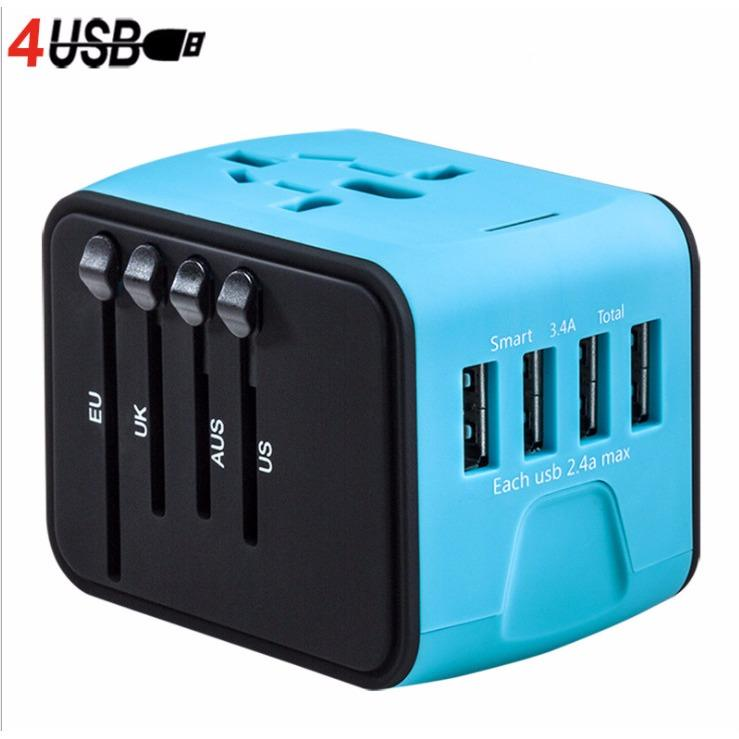 Get The Best Price For Worldwide Travel Adapter Au Uk Us Eu Power Plug Universal Wall Surge Protected Adaptor Charger With Usb Charging Port International Converter Socket Intl