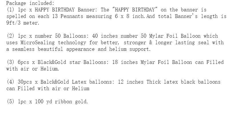 50th Birthday Theme Party Decorations Kit, Black HAPPY BIRTHDAY Banner,  Gold Number 50 Big Foil Balloon, 6pcs Black and Gold Star Balloons, 12