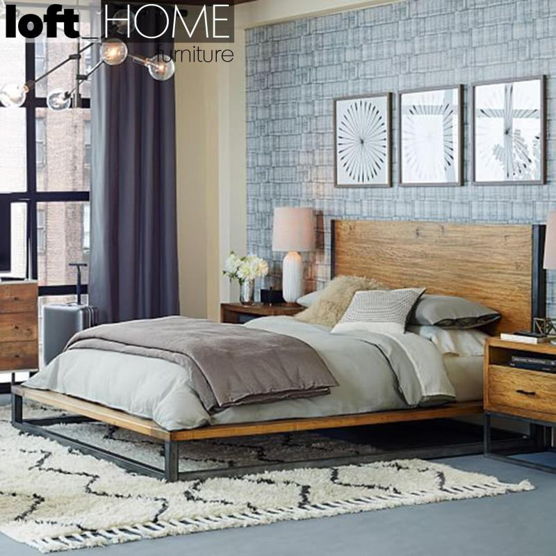 Loft Iron solid wood Bed - Industrial