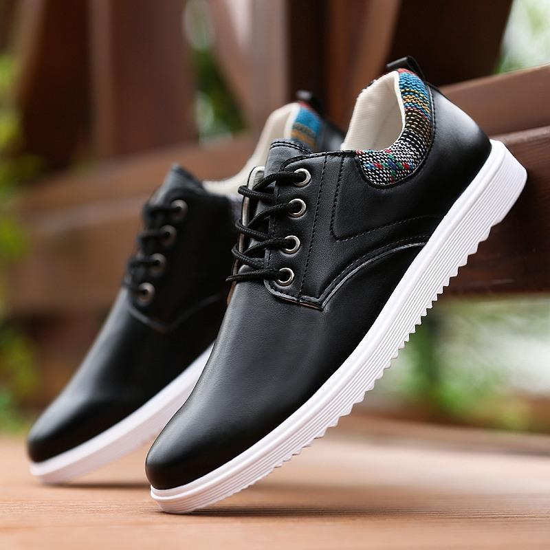 Fitur Kulit Paten Pria Korea Gaya Busana Kasual Sepatu Sepatu ... ab86393c0d