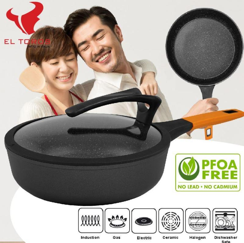 El Toros Italy 28cm Non-Stick Marble Coating Deep Frying Pan for Induction and Gas Stove Singapore