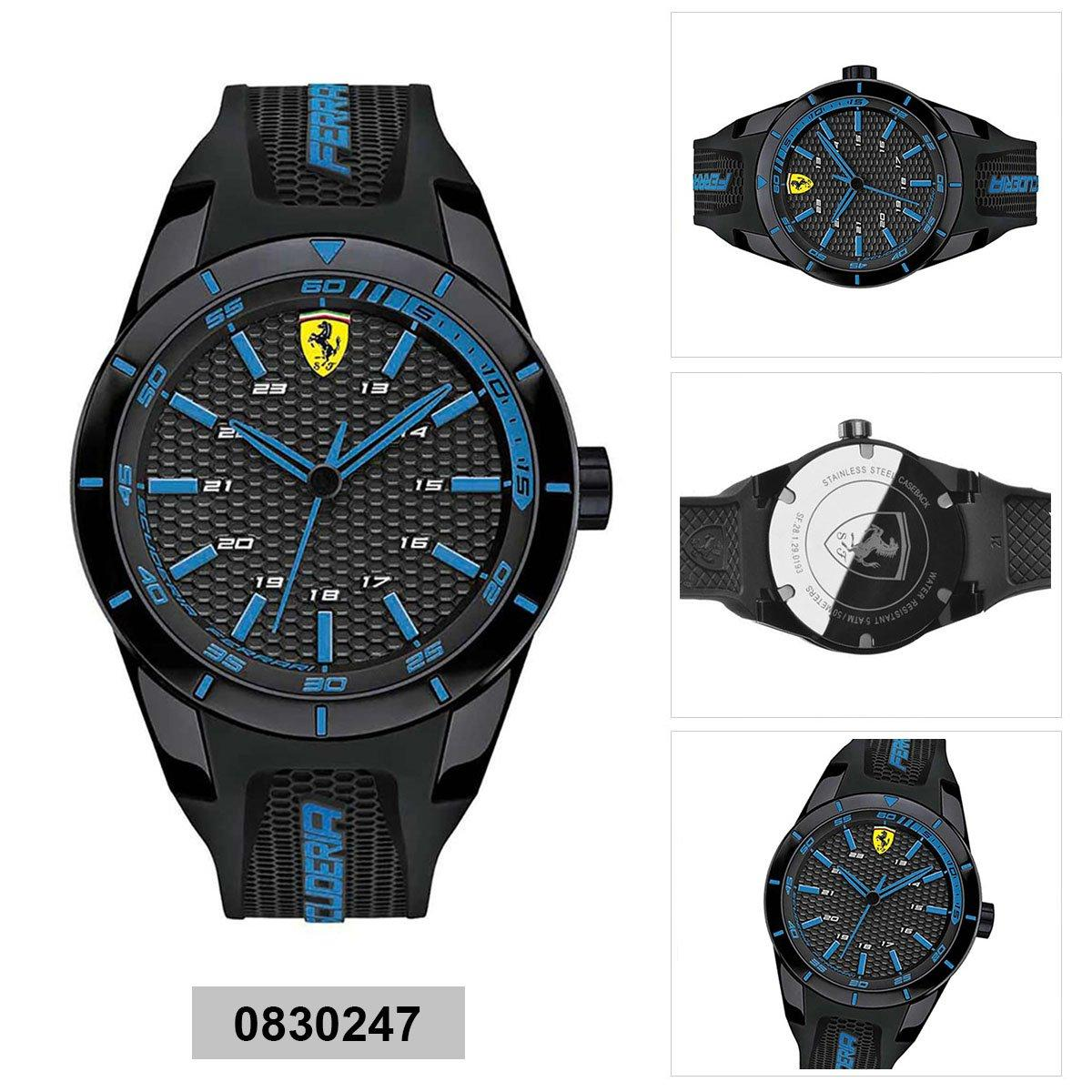 Promo Ferrari Watch Redrev Black Plastic Case Rubber Strap Mens 0830247