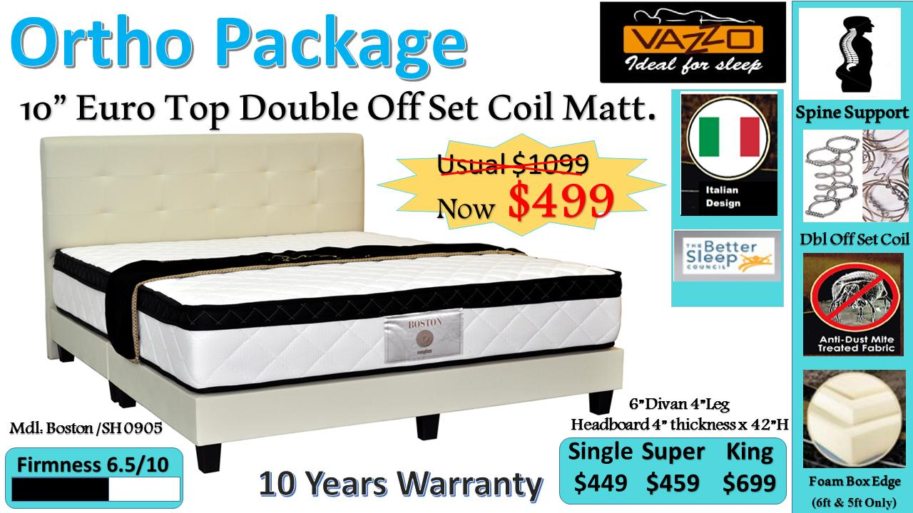 Best Deal Otho Package 10 Euro Top Double Offset Coil Mattress Bed Frame Brown