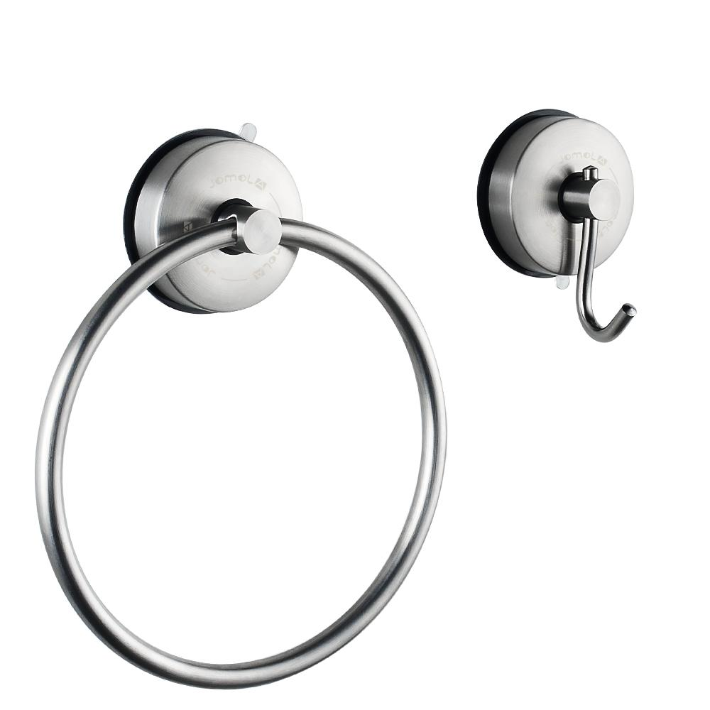 Jomola Vacuum Suction Cup Set Of Single Towel Coat Hook Towel Ring Sus 304 Stainless Steel Removable Bathroom Kitchen Sucker Towel Hanging Intl Free Shipping