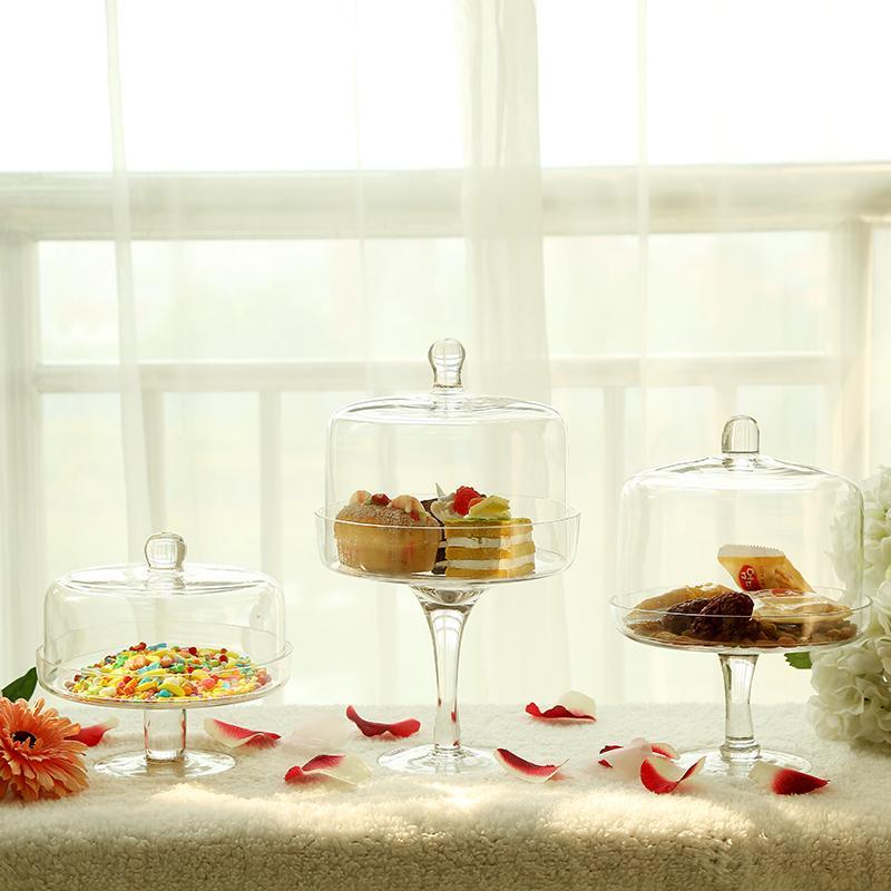 Dustproof High Base Cake Glass Tray Fruit Bowl Online