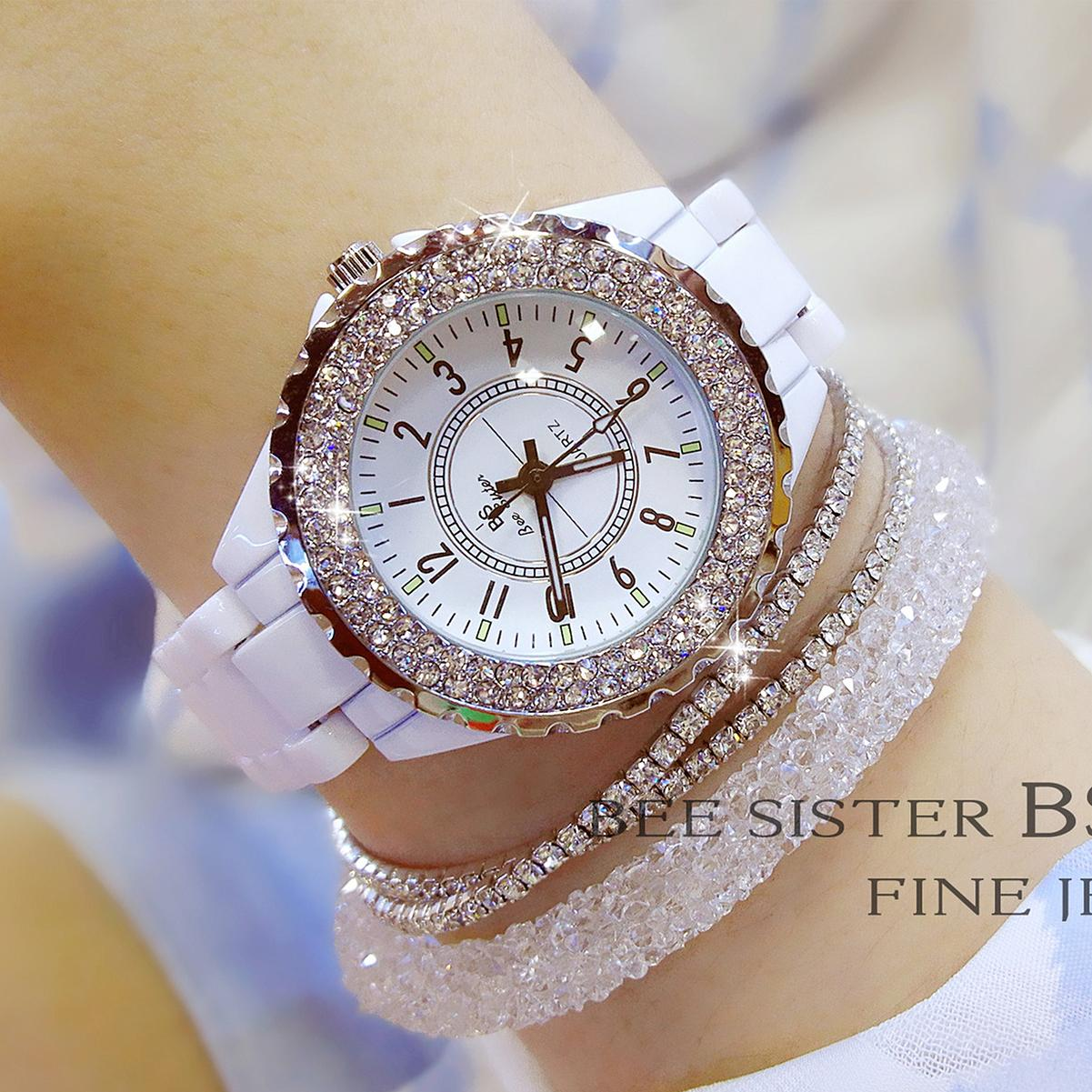 BS foreign high-end full of crystals women's watch ceramic watch
