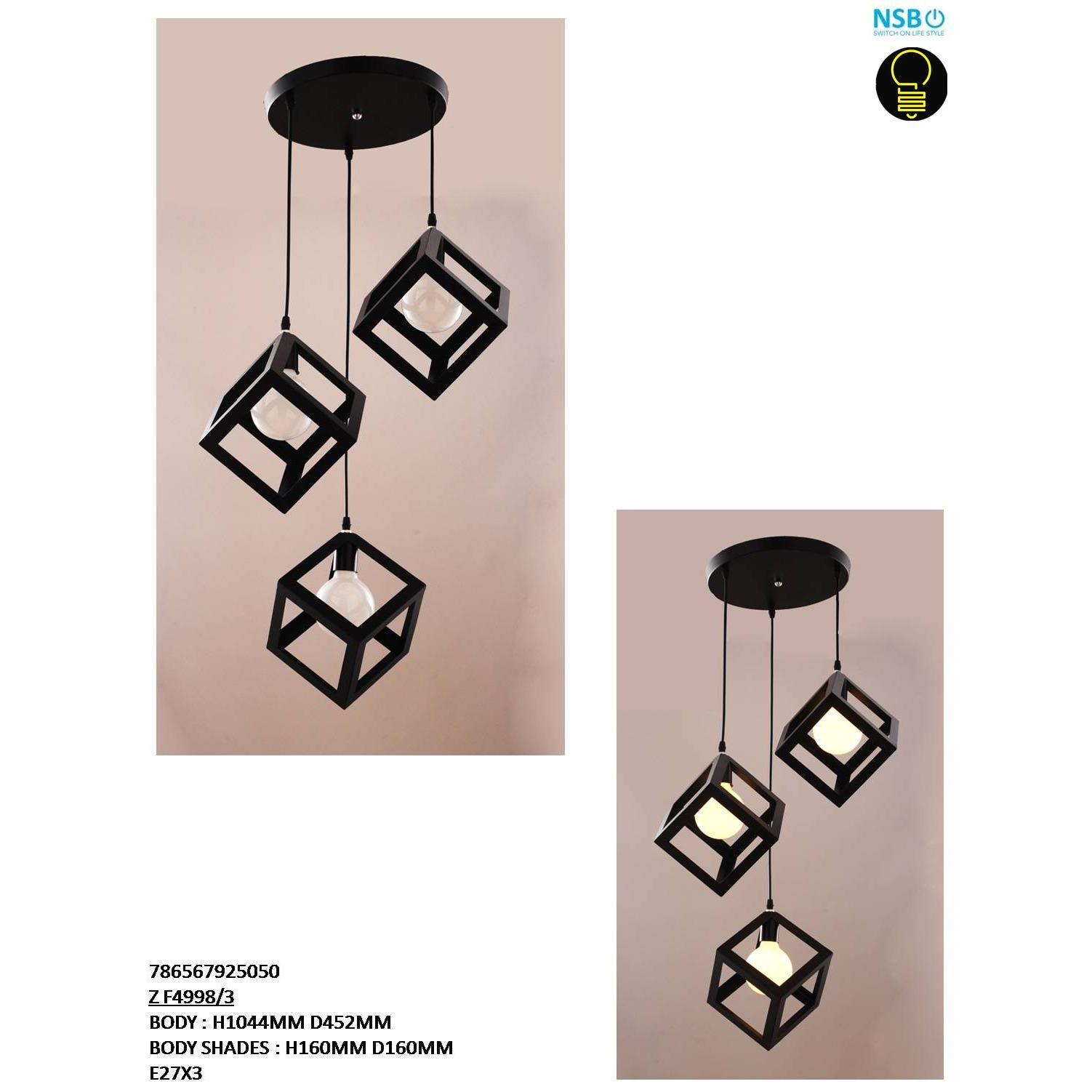 1 SET (Round Base) Designer Decorative Ceiling Lights Pendants Light (Black)