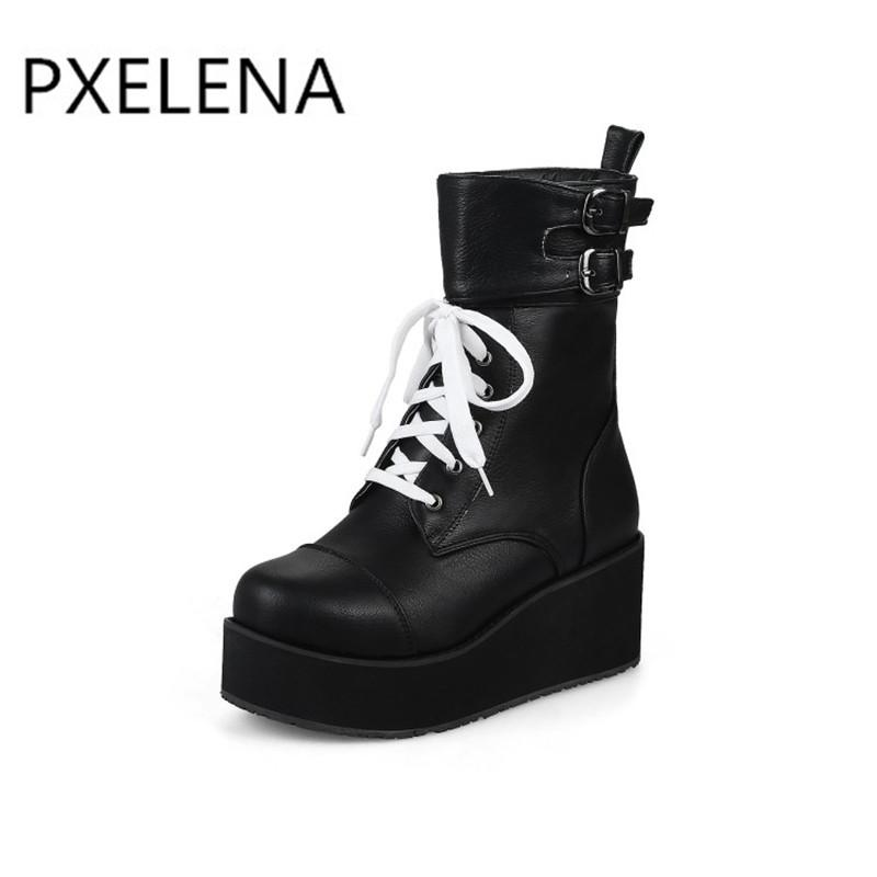 81fb10b6403 PXELENA Rock Punk Gothic Boots Women Shoes Platform Creepers Wedge High  Heels Martin Boots Lace Up