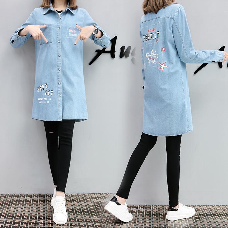 Tambah besar baju wanita Gemuk Pakaian musim semi dan musim gugur model  setengah panjang casual Koboi 0bd4b23458