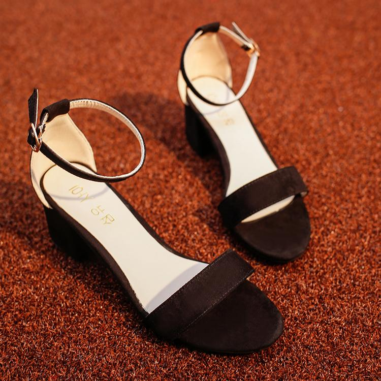 5c8689e942e 2019 Spring New Style Open Toe High Heel Shoes Semi-high Heeled Women Black  Chunky