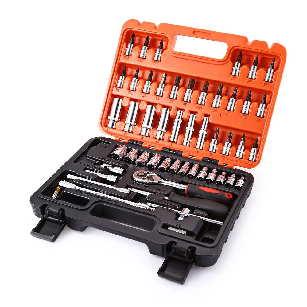 Purchase 53Pcs Auto Car Repair Tool Box Set Ratchet Wrench Sleeve Universal Joint Hardware Kit Intl