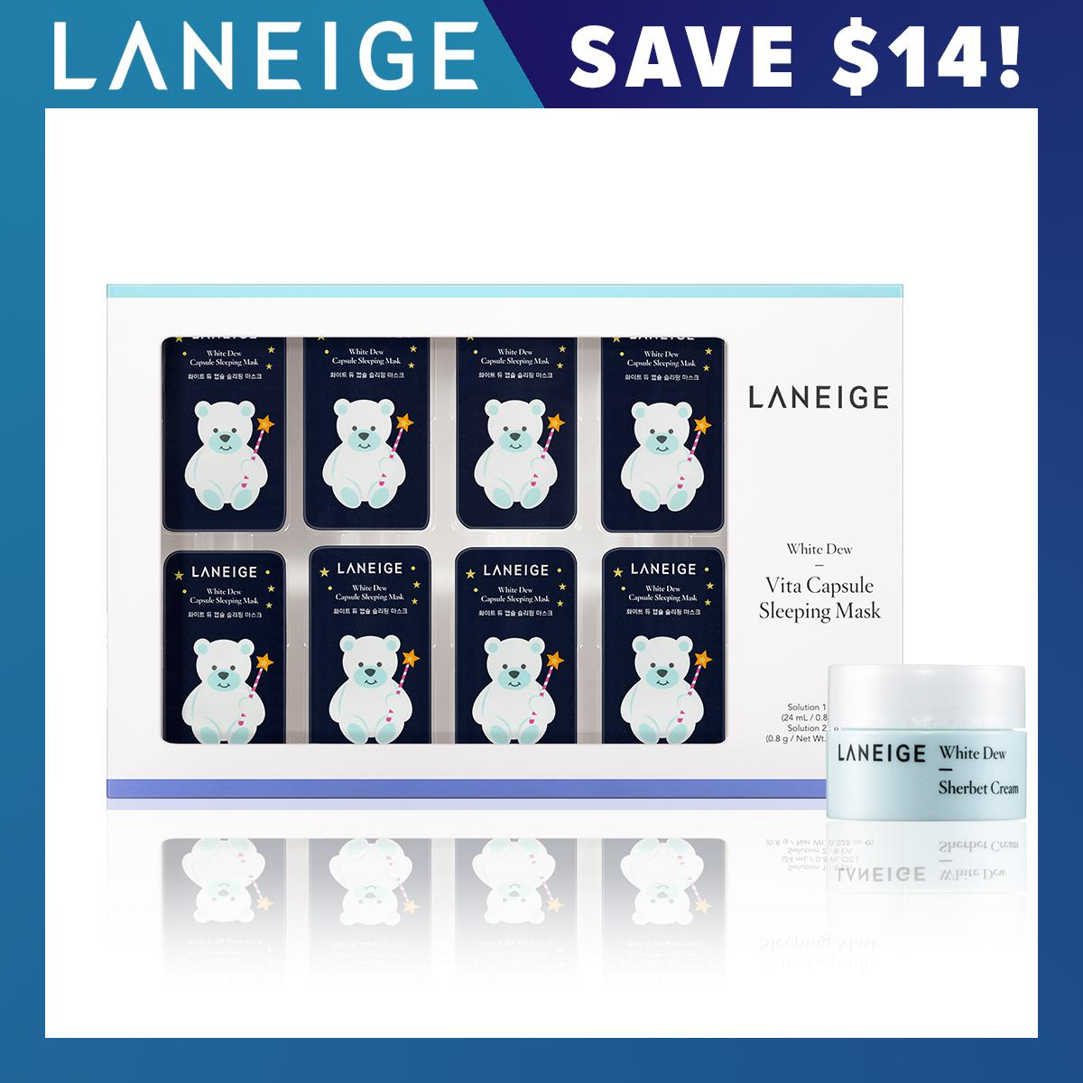 Who Sells Exclusive Set Laneige White Dew Vita Capsule Sleeping Mask 3G X 8Ea Apr18