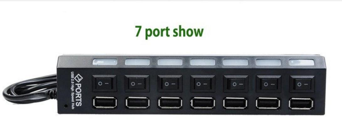 7 Port Slot USB 2.0 High Speed Hub Adapter Splitter with Individual Power On / Off