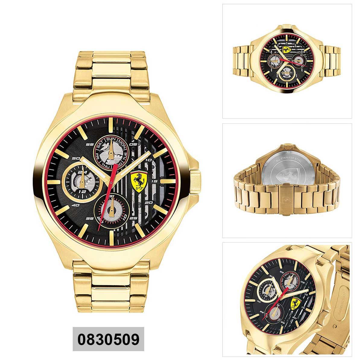 Ferrari Ferrari Gold Stainless-Steel Case Stainless-Steel Bracelet Mens NWT + Warranty 0830509