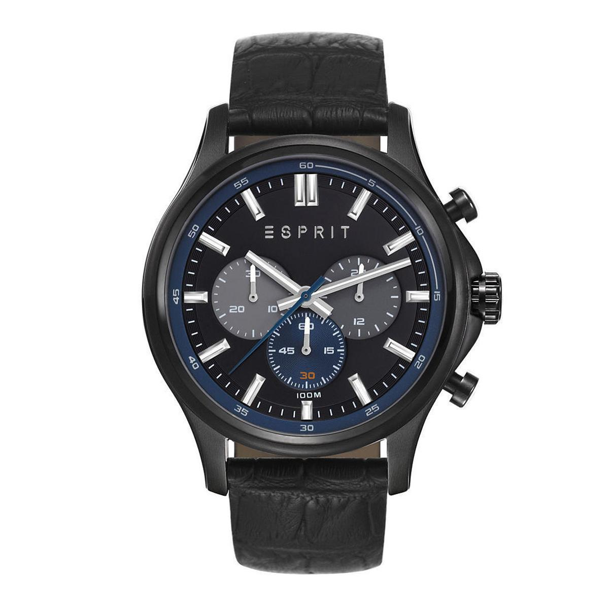 Who Sells The Cheapest Esprit Watch Mathias Black Stainless Steel Case Leather Strap Mens Es108251002 Online