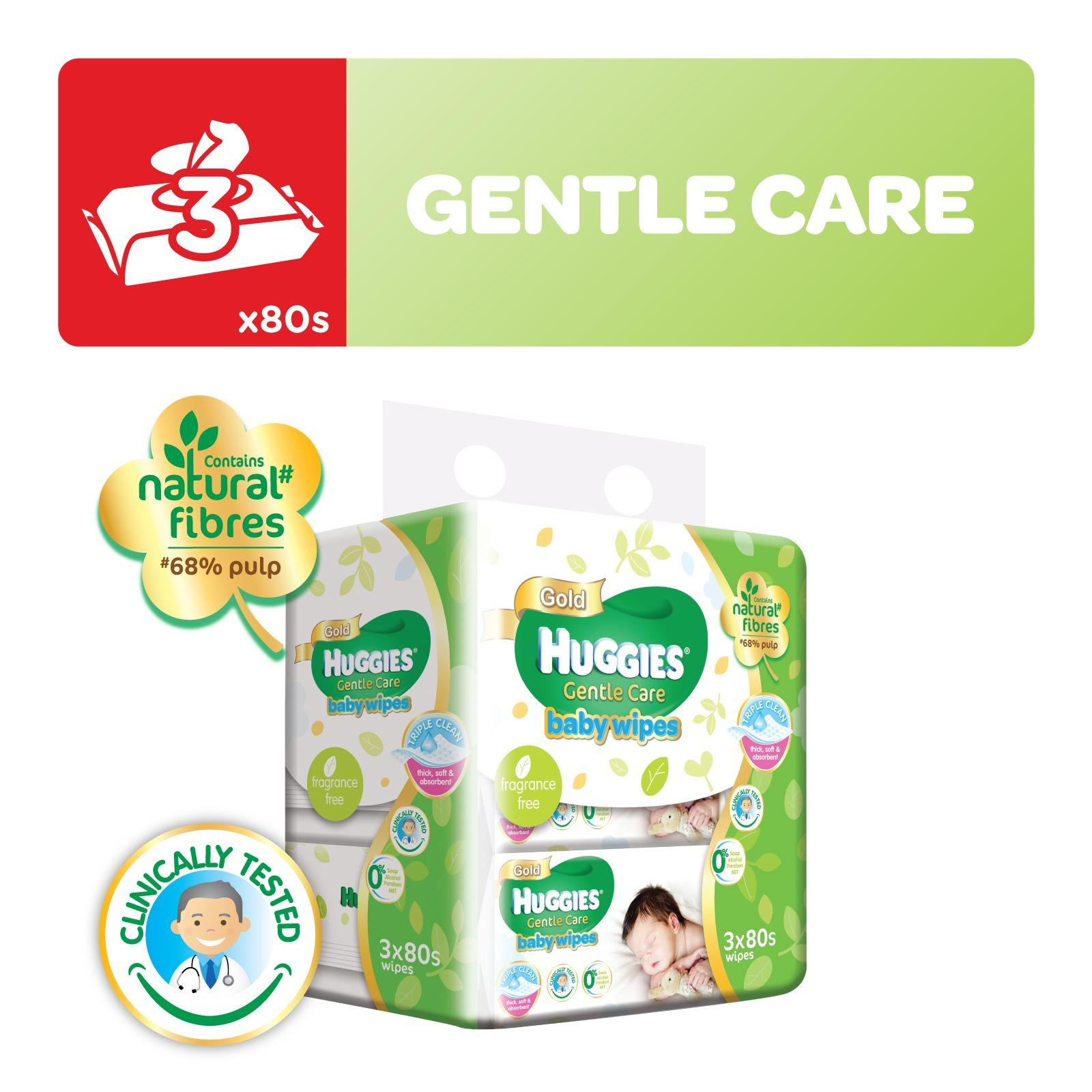 Huggies Baby Wipes Gentle Care 80sx3 1pack