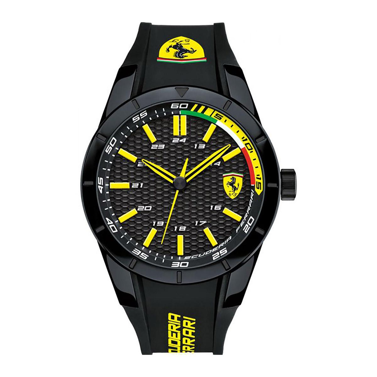 Sale Ferrari Watch Redrev Black Stainless Steel Case Silicone Strap Mens 0830302 Ferrari Cheap