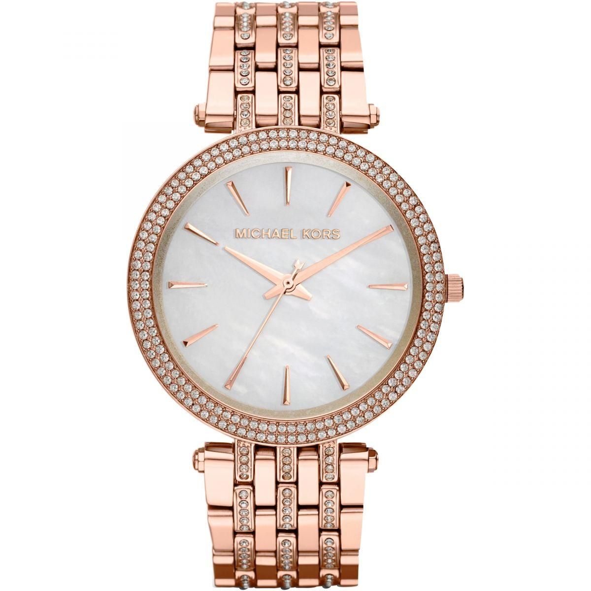 Michael Kors Darci Glitz Rose Gold-Tone Stainless Steel Bracelet 39mm Ladies Watch Mk3220 By Watch Centre