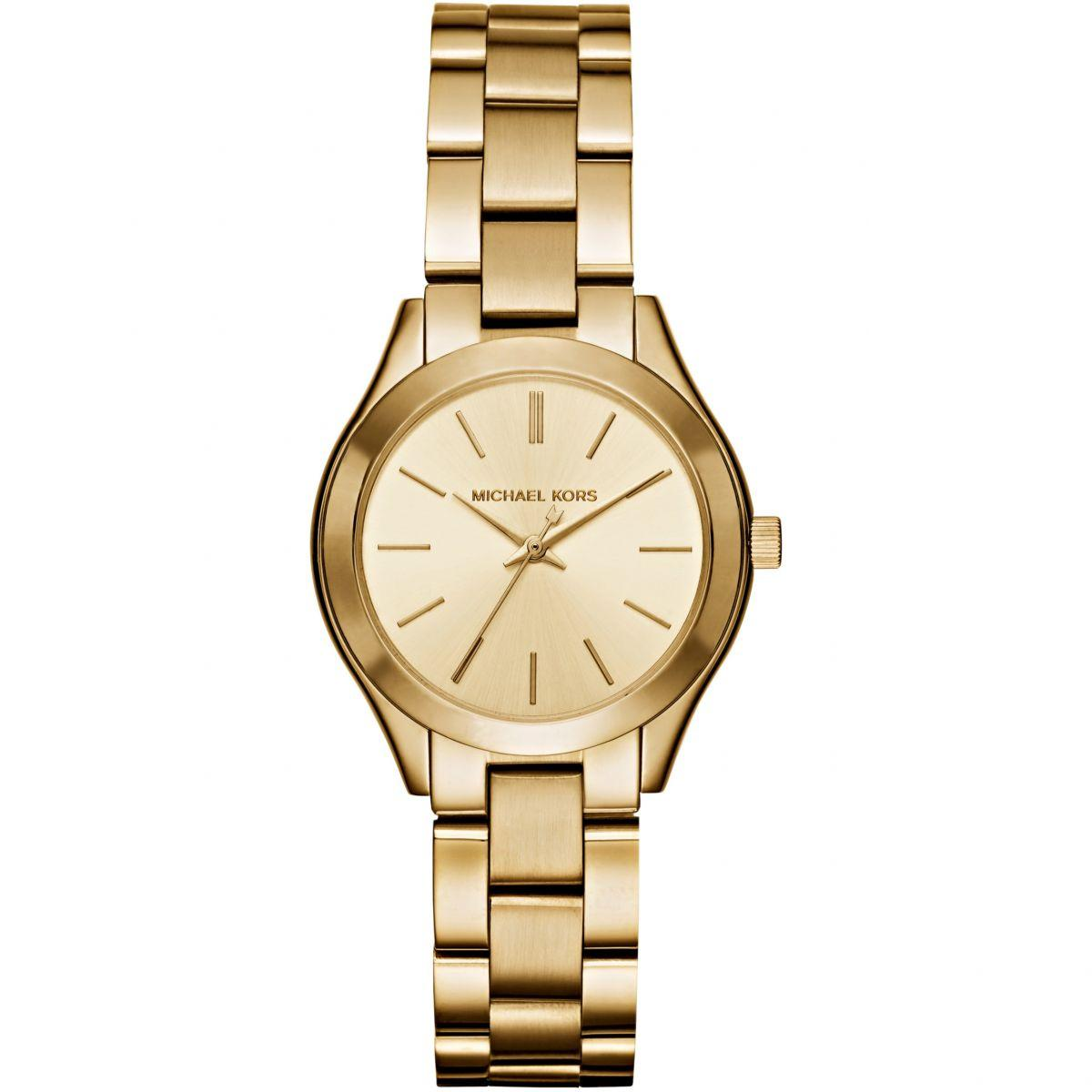 Michael Kors Mini Slim Runway Gold Tone 34mm Ladies Watch Mk3512 By Watch Centre.
