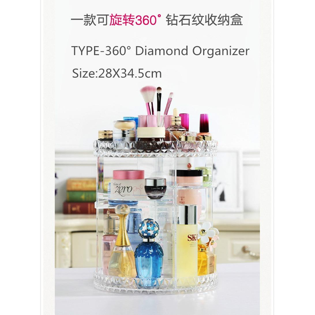 Acrylic 360 Degree Rotating Diamond Cosmetic Organizer Toner Makeup Box Transparent Storage In Stock