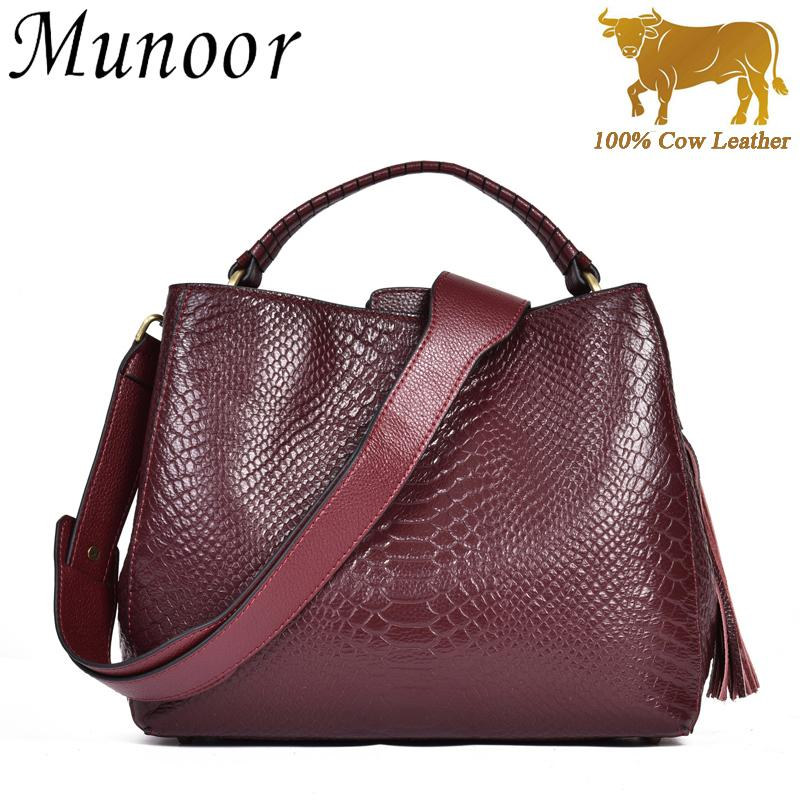 Munoor High Quality 100% Genuine Cow Leather Women Top Handle Tote Bags