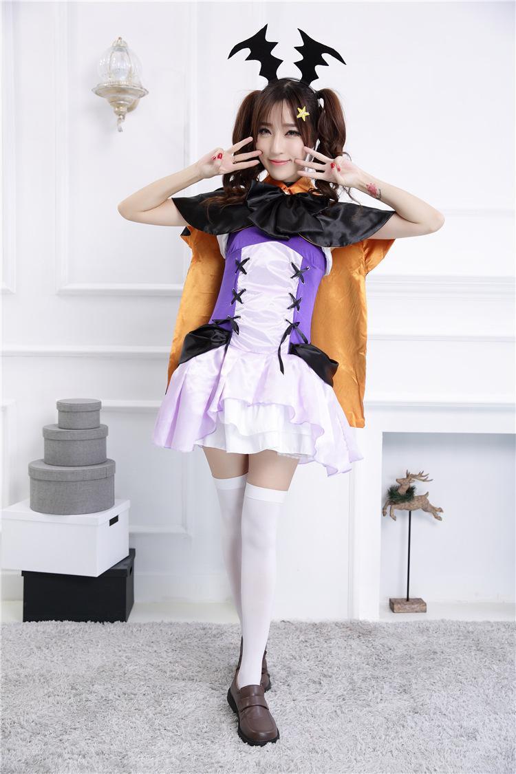 Cinta hidup seri Halloween kostum COS Penyihir Vampir Setan setelan Ratu cosplay pakaian Ungu
