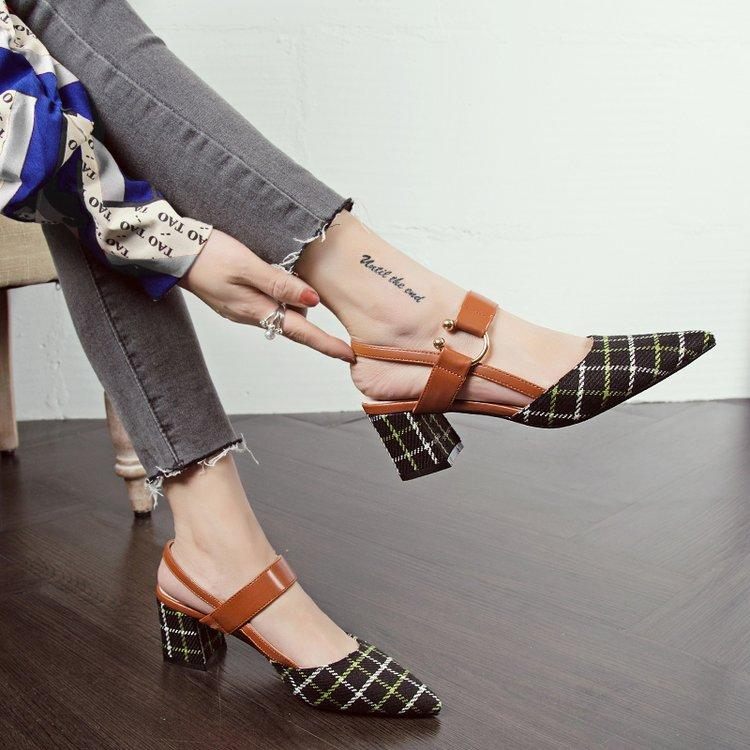 52ed6e69f3f12 Vintage CHIC Shoes women 2019 New Style Spring Summer Chunky Heel Pointed  Shallow Mouth High Heel