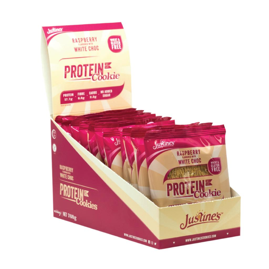 Justine S Complete Protein Cookie 64G White Chocolate Raspberry Box Of 12 Promo Code