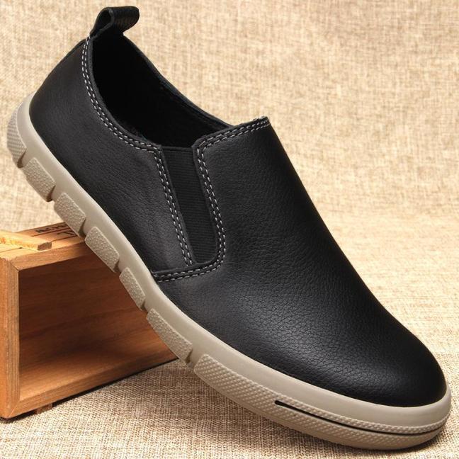 Giày nam xuất khẩu giày Đậu Đậu da thật giày thoải mái giày lười da bò đầu tròn xỏ phát ăn ngay giày slip on cổ thấp giá rẻ