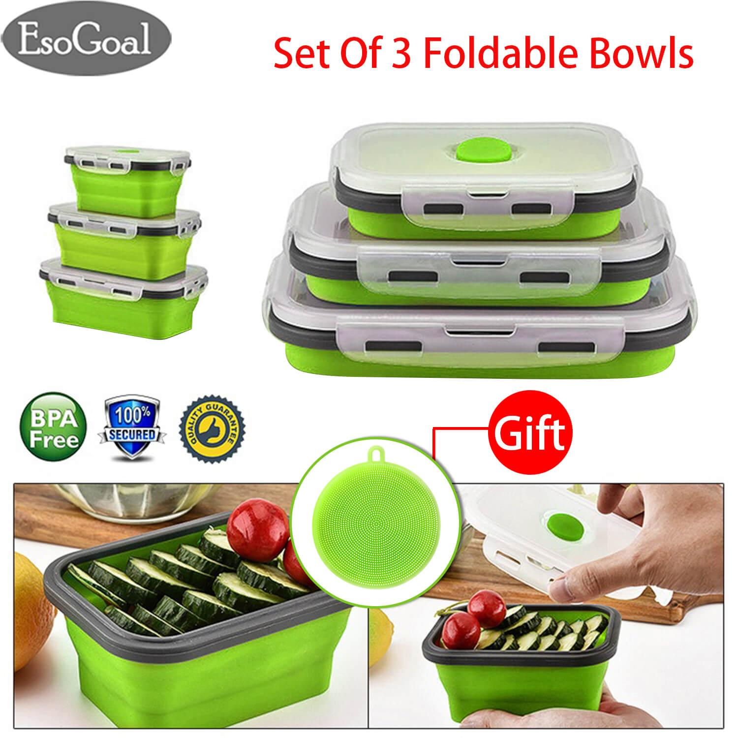 EsoGoal Collapsible Lunch Box Folding Silicone Bowls Portable Foldable Outdoor Retractable Food Storage Containers Lunchbox For School Office Camping Travel