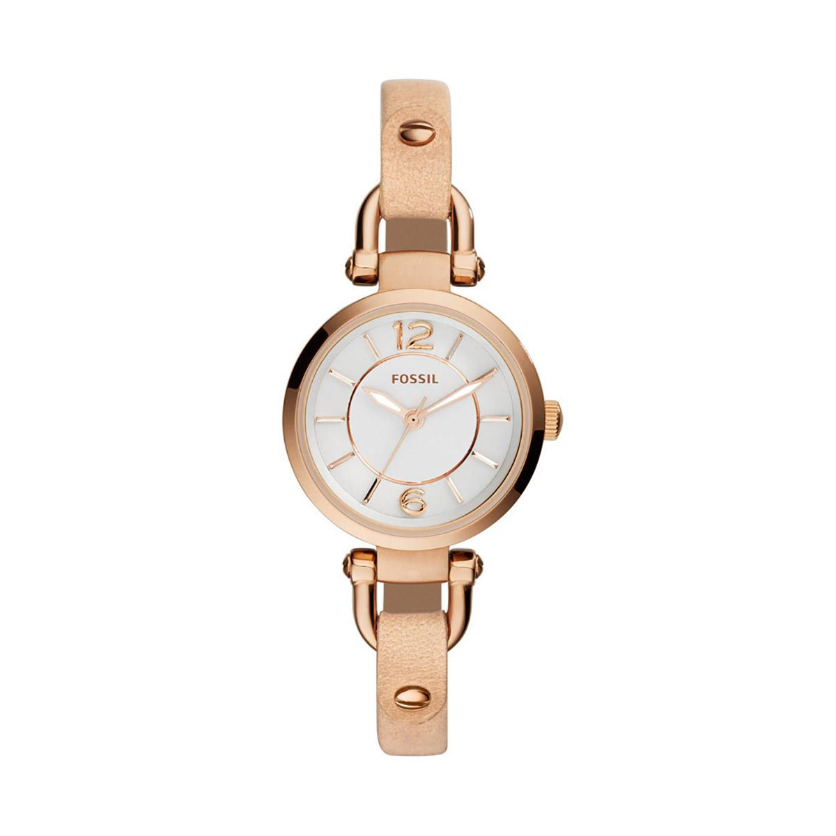 Price Compare Fossil Watch Georgia Beige Stainless Steel Case Leather Strap Ladies Es3745