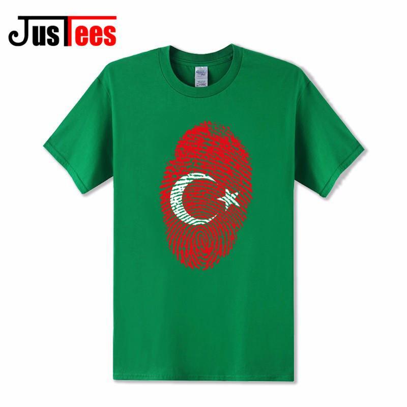 Komik Bendera Turki Sidik Jari Desain Dicetak T Kemeja Pria 2018 Baru Musim Panas Katun Lengan Pendek Kaos Pria Keren Top Kaus Homme-Intl